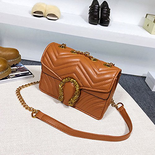 Casual Fashion Lady Shoulder Bags Shoulder Bag Backpack Schoolbag Brown Chains