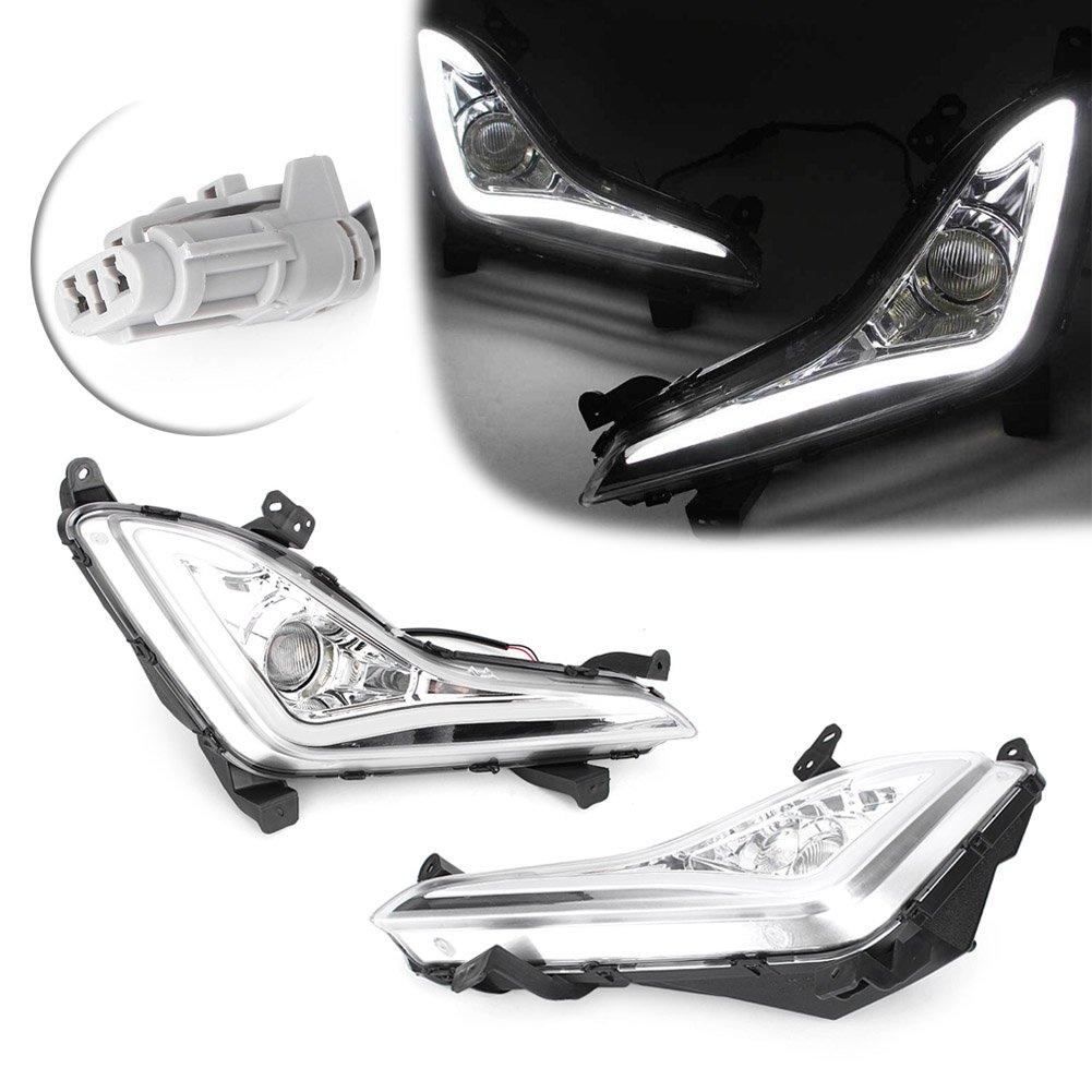 GZYF 自動車用 LED DRL デイライト フォグランプ ウインカー機能付き ランニングライト フォグランプ ハイパワーLEDライト 防水 耐衝撃性 Hyundai Elantra 2014-2015 B07CQQF32D