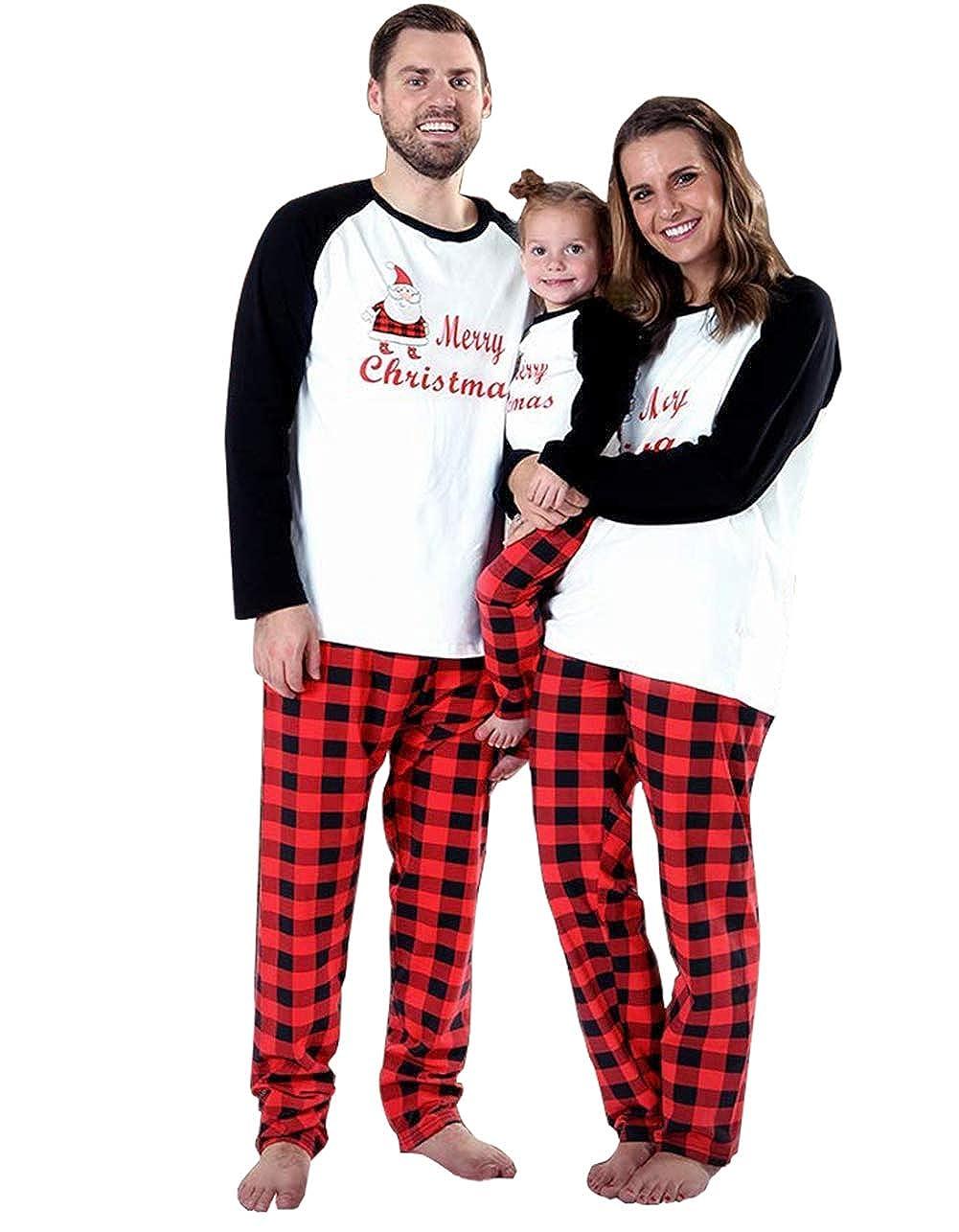 SWNONE Family Matching 2 PCS Santa Claus Print Christmas Pajamas Sets, Merry Christmas Classic Plaid Xmas Pajama Set