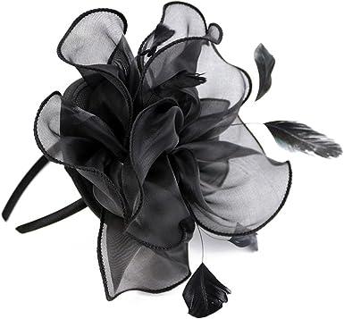 ACTLATI Fascinator Hat Feather Mesh Net Flower Hairband Women Tea Party Headwear
