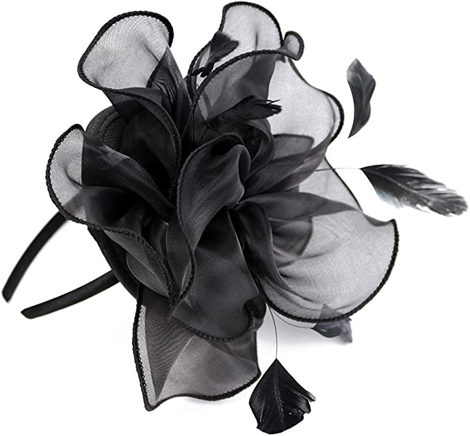 Flower Hair Clip Feather Small Mini Top Hat Fascinator Wedding Ascot Race Party
