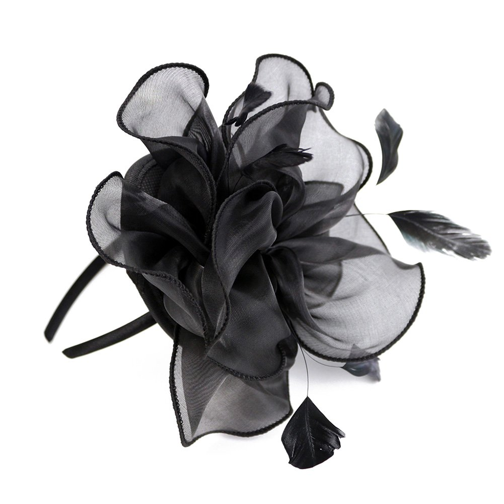 Song Qing Fascinator Women Ladies Silk Yarn Feather Hair Hoop Cocktail Party Wedding Sinamay Headband (Black)