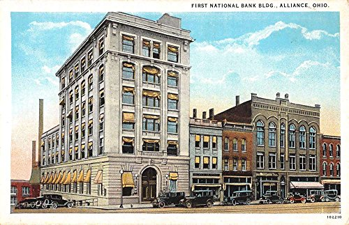 alliance-ohio-first-national-bank-bldg-street-view-antique-postcard-k39018
