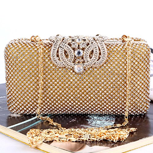 H.Slay Tote Bolso De Noche, Diseñador De Moda Para Mujer Cristal Diamante Bolso De Embrague Bolso Nupcial Del Monedero Del Banquete De Boda De Las Señoras,Gold Gold
