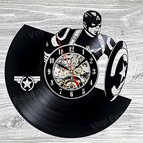 Captain America Vinyl Wall Clock Art Gift Room Modern Home Record Vintage Decoration Captain America Vinyl