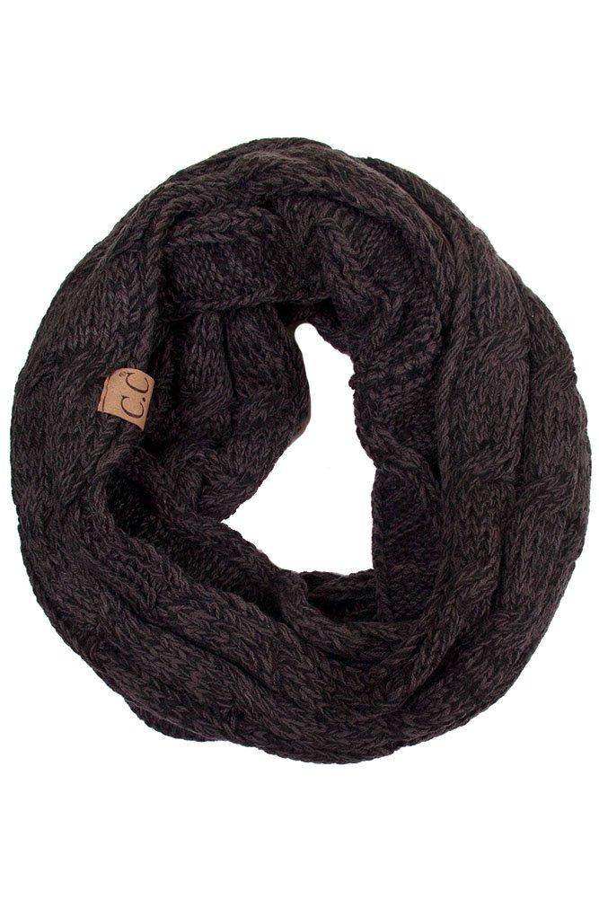 ScarvesMe CC Trendy Warm Chunky Soft Cable Knit Infinity Scarf (Black)