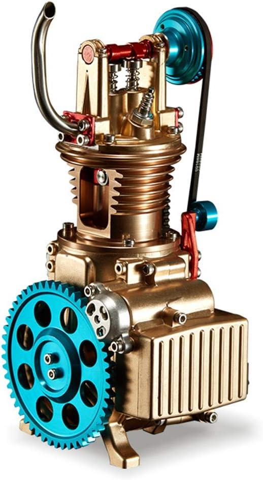 Yamix DIY Engine Model Assembly Kit, Full Metal Single Cylinder Mini Car Engine Model Building Kit for Adults