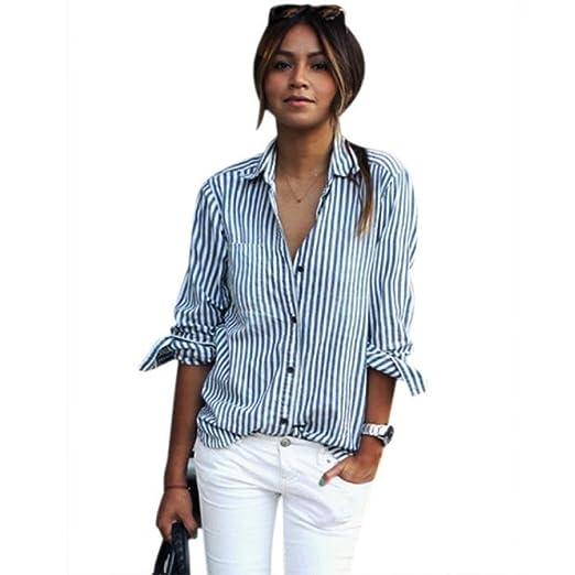 13b0cf1bd8a9a Mr.Macy Women Striped Long Sleeve Loose Blouse Casual T Shirt Tops ...