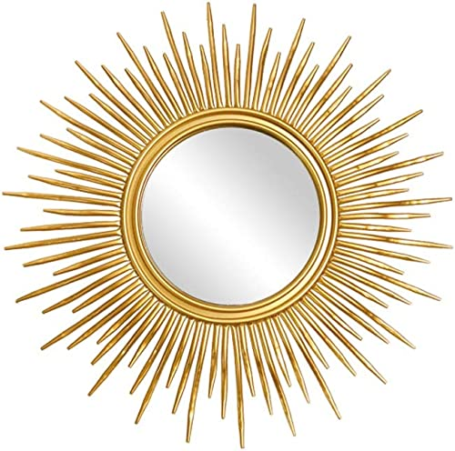WYSTAO Large Antique Light Gold Sunburst Wall Mirror Home Bathroom Fitting H60 x W60cm Nordic Style Metal Wall Mirror Size 60x60cm 23.62×23.62in