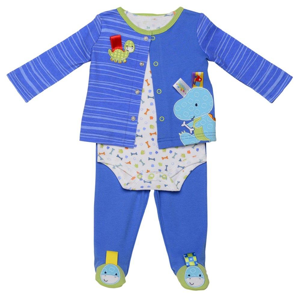 Taggies Baby Boy Dino Dudes 3個入り新生児用品一式( 3 m-9 m ) 3 Months  B00V3OJ06C