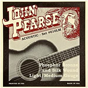 John Pearse 610 LM Strings Silk Phos Bronze Acoustic Strings, Med-Light