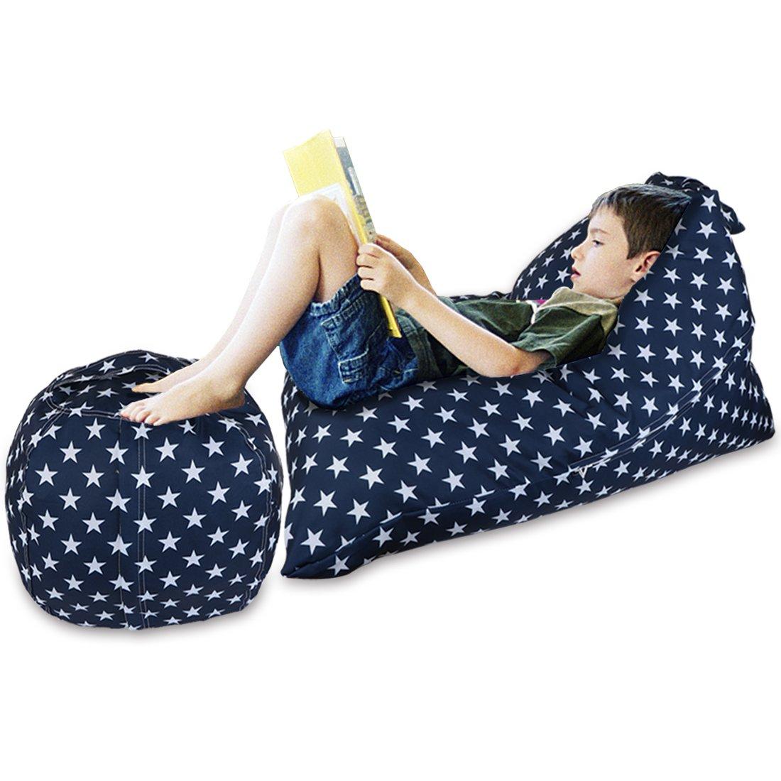 YellowPin 2pc Stuffed Animal Bean Bag Storage Lounger Chair Round Ottoman Value Set