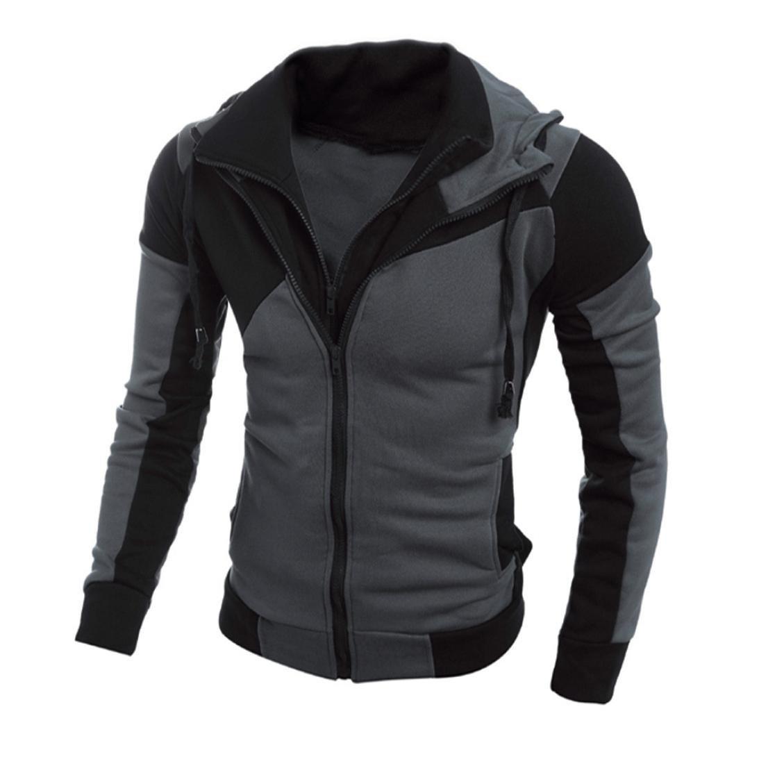 AMSKY❤Mens Fashion Slim Fit Double Zipper Hooded Jacket Hipster Patchwork Sport Cozy Cotton Hoodies Sweatshirts Top Outwear (L, Black)