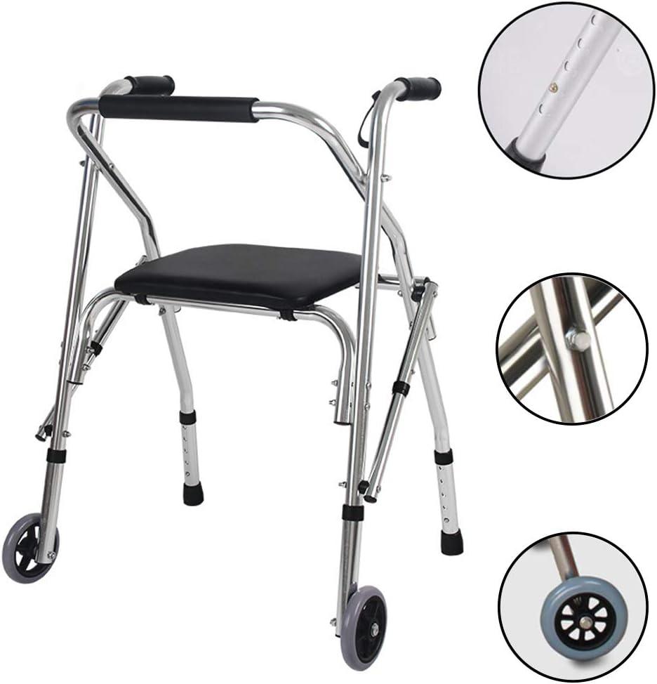 折りたたみ式軽量アルミニウム高さ調節可能ウォーキングフレーム4本足歩行者障害者ウォーキングスティック高齢者用シート付き折りたたみ歩行フレーム、折りたたみ式、高齢者、障害者用