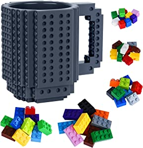 Build-on Brick Mug with 50 Pieces Building Blocks Toys Set for Kids Birthday Christmas Gift (Gray)