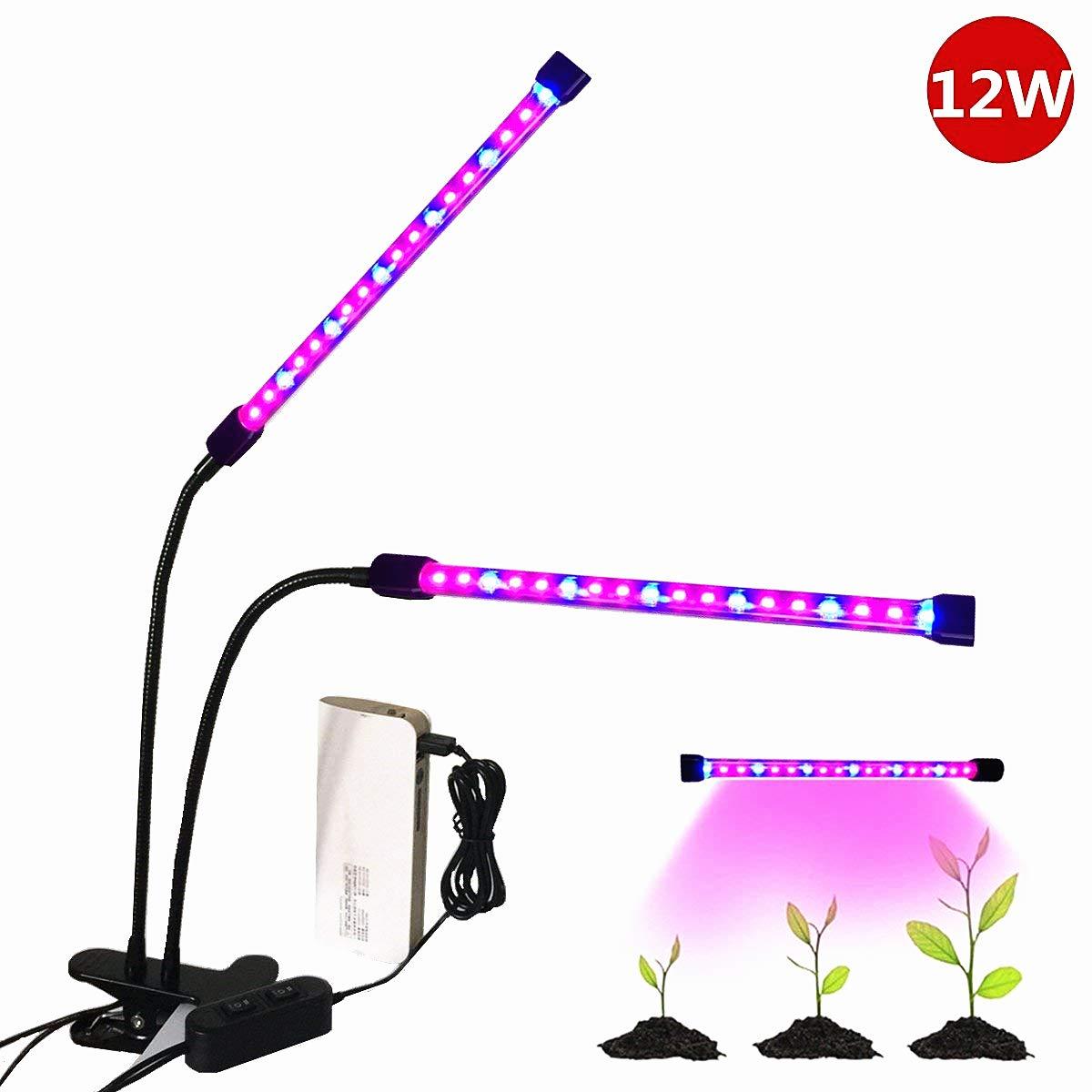 2017 NEU Doppelkopf LED Pflanzenlampe, Florally 12W Pflanzenleuchte USB Pflanzenlicht Wachstumslampe, 36 LEDs(24 Rote, 12 Blaue), 2 Lichtmodi verstellbar, Grow Licht Wachsen Lichter, Klemmleuchten mit 360 Grad einstellbar Flexible Gooseneck für Zimmerpflan