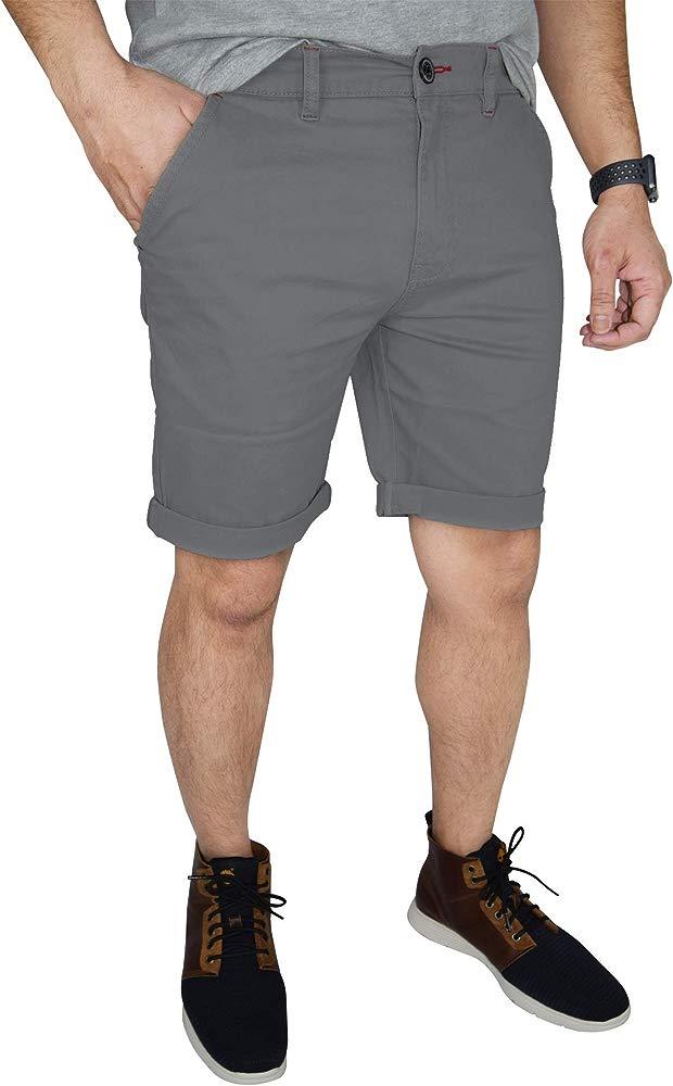 ETHANOL Mens Super Comfy Stretch Flex Slim Fit Denim Twill 11 inch Shorts