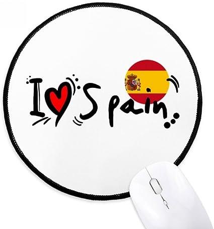 DIYthinker Amo la ilustración de la bandera de España Palabra del amor del corazón de la Ronda antideslizante tapetes de ratón Negro Titched Bordes Juego Oficina regalo: Amazon.es: Oficina y papelería