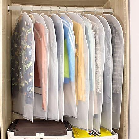 10st. Kleidersäcke Kleiderhülle transparent 120/100 cm lang Staub Schutz für Mantel Anzug Daunenjacke Rock Abendkleid Aufbewa