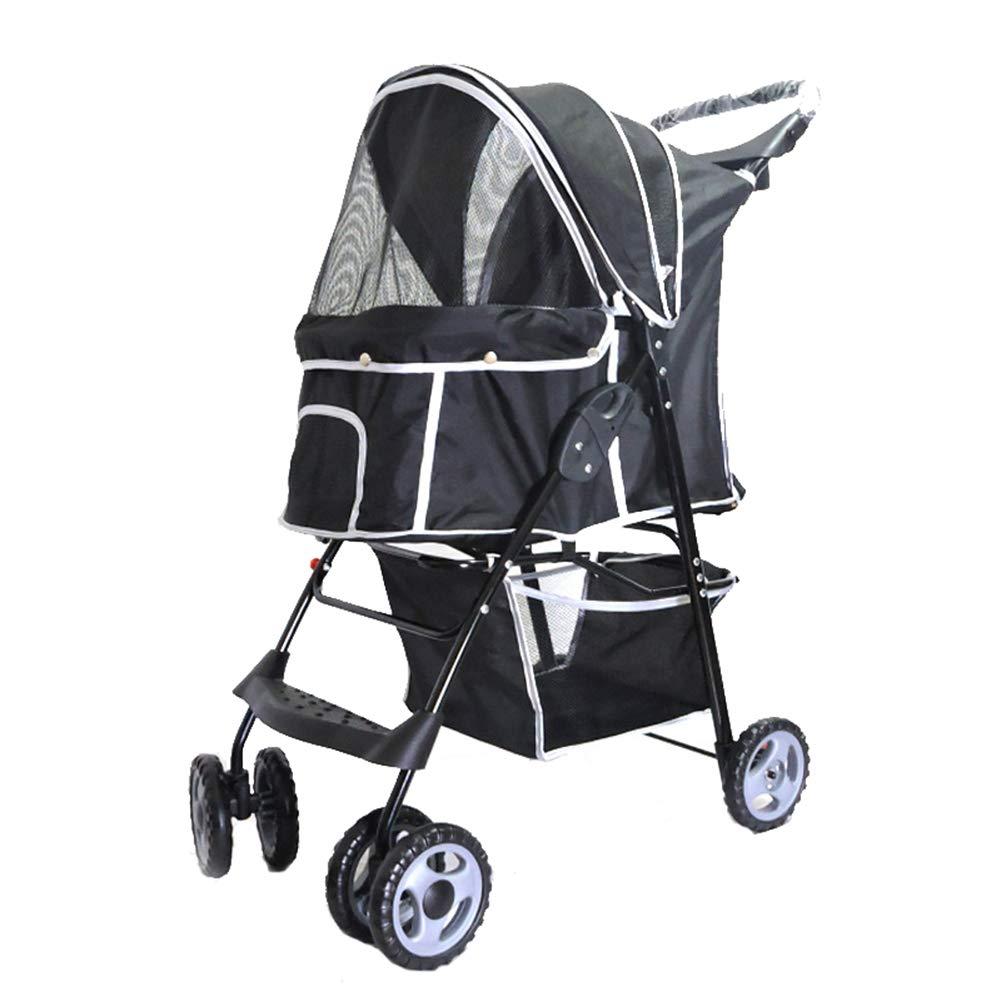 Black Dog Cat Pet Stroller,4 Wheel Dog Cage Stroller, Reversible Handle Bar, Pet Travel Folding Carrier, Strolling Cart, Strong and Stable,for Medium Pets