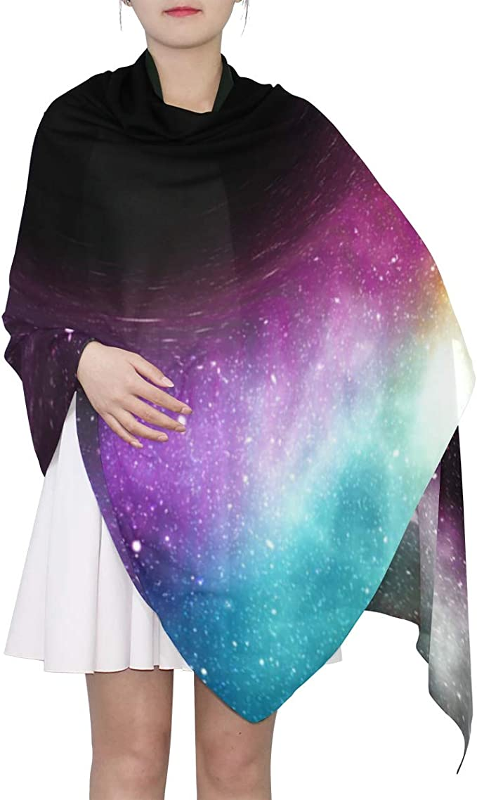 XLING Fashion Square Scarf Colorful Abstract Galaxy Paint Lightweight Sunscreen Silk Scarves Muffler Hair Wrap Headscarf Neckerchief for Women Men