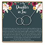 Dear Ava Daughter-In-Law Gift Necklace: Wedding Gift, Jewelry From Mother-In Law, Gift for Bride, 2 Interlocking Circles (silver-plated-brass, NA)