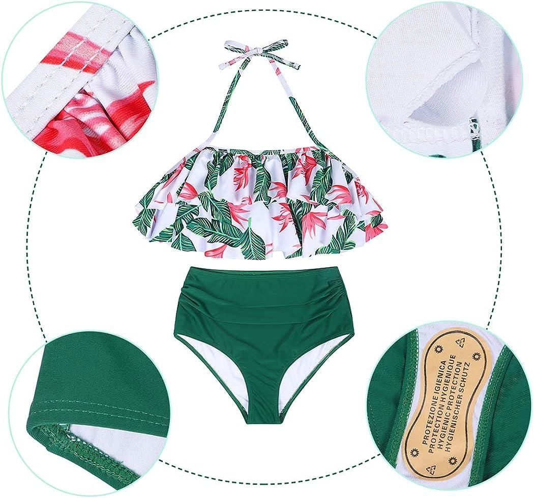 AmzBarley Mother Daughter Swimming Costumes Womens Girls 2 Piece Swimsuit Tankini Set Parent Child Bathing Suit Vintage Ruched Floral Bikinis Swimwear
