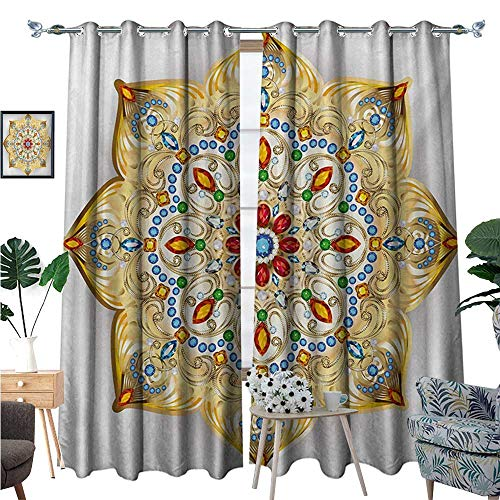BlountDecor Mandala Patterned Drape for Glass Door Brooch Inspired Design Mandala Geometric Vintage Design Lively Figure Digital Print Waterproof Window Curtain W96 x L108 Multicolor