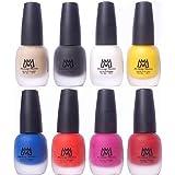 Makeup Mania Premium Velvet Matte Nail Paint Combo (Nude, Black, White, Yellow, Blue, Orange, Maroon, Pink (MM# 18-22))