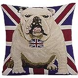 EHC British UK Flag Bulldog Dog Bow Tie Decorative Chenille Cushion Cover
