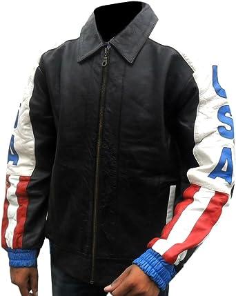 Classyak Hombres de la Bandera de Estados Unidos para Moto Chaqueta de Piel auténtica: Amazon.es: Ropa y accesorios