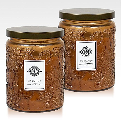 - Dynamic Collections Aromatherapy Scented Candles - Great for Minimalistic Home Decor, Stress Relief, and Gift Set of Two 16 ounce Mason Jar Candles (HARMONY)