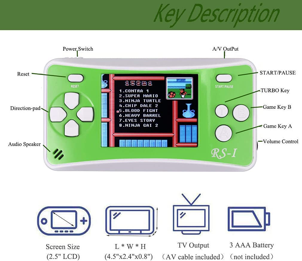 Arcade Entertainment System Game Console That Supports TV HD Output Built-in 152 Classic Games Joseky Portable Handheld Game Console-2.5-inch Mini Retro Game Console Green