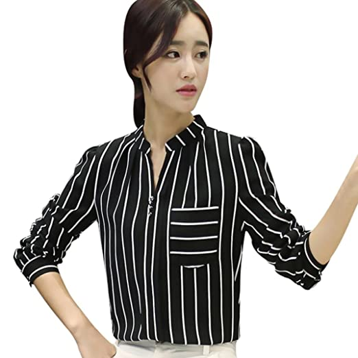 30ccc162f5 Leoy88 Women Striped Blouse Top Long Sleeve Button Work Office Lady Blouse  Shirt (Black,