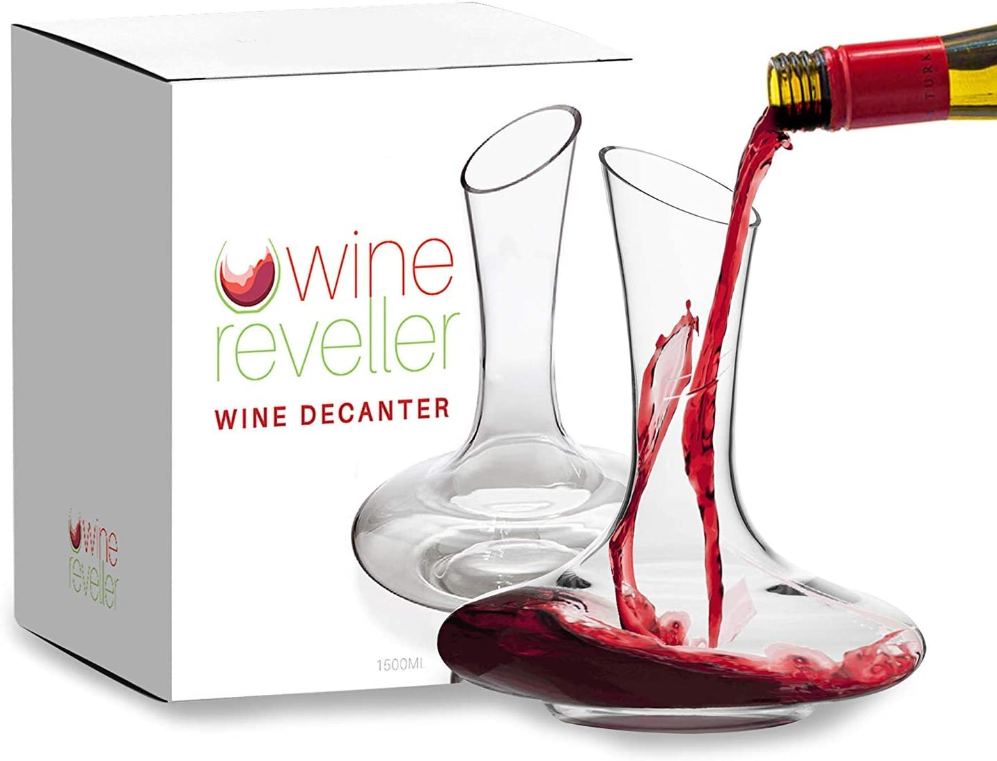 Amazon Com Wine Reveller Wine Decanter 100 Hand Blown Lead Free Sturdy Crystal Glass Red Wine Carafe Easy Pour Slanted Spout Gift For The Wine Lovers In Your Life Home Kitchen