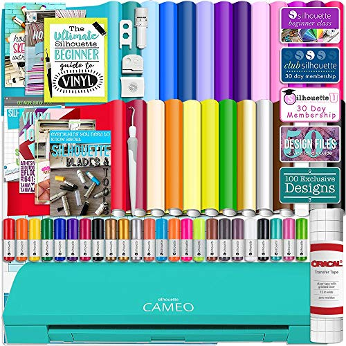 """Silhouette Cameo 3 Teal Bluetooth Starter Bundle with 26-12"""" x 12"""" Oracal Vinyl Sheets, Transfer Paper, Guide, Class, Designs, 24 Sketch Pens, and More"""