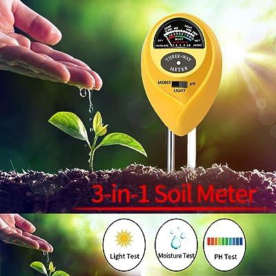 U-meet Soil Tester, 3-in-1 Soil Test Kit with Moisture, Light and PH Test, Soil Moisture Meter, Great for Garden (Yellow) : Garden & Outdoor