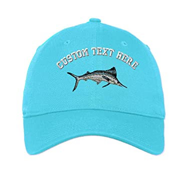 30ef5707 Custom Text Embroidered White Marlin Unisex Adult Flat Solid Buckle Cotton  6 Panel Unstructured Baseball Hat