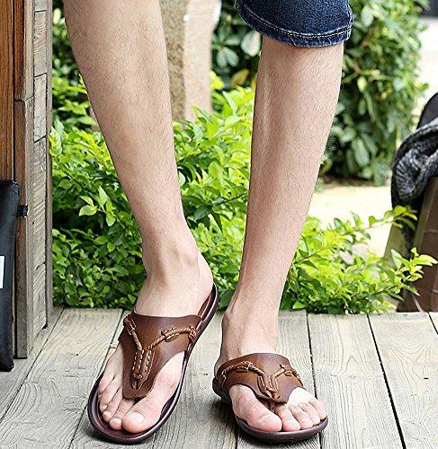 Bininbox Mens Cuir Chaussures Dété Classiques Pantoufles De Plage Tongs Sandales Kaki