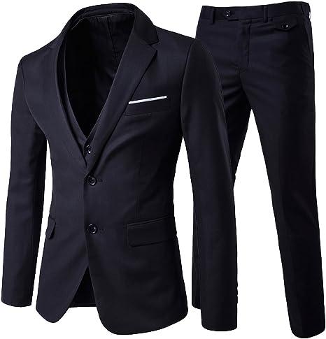 Cloudstyle Mens 3-Piece 2 Buttons Slim Fit Solid Color Jacket Smart Wedding Formal Suit