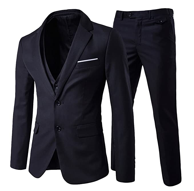 Cloudstyle Mens 3-Piece 2 Buttons Slim Fit Solid Color Jacket Smart Wedding Formal Suit