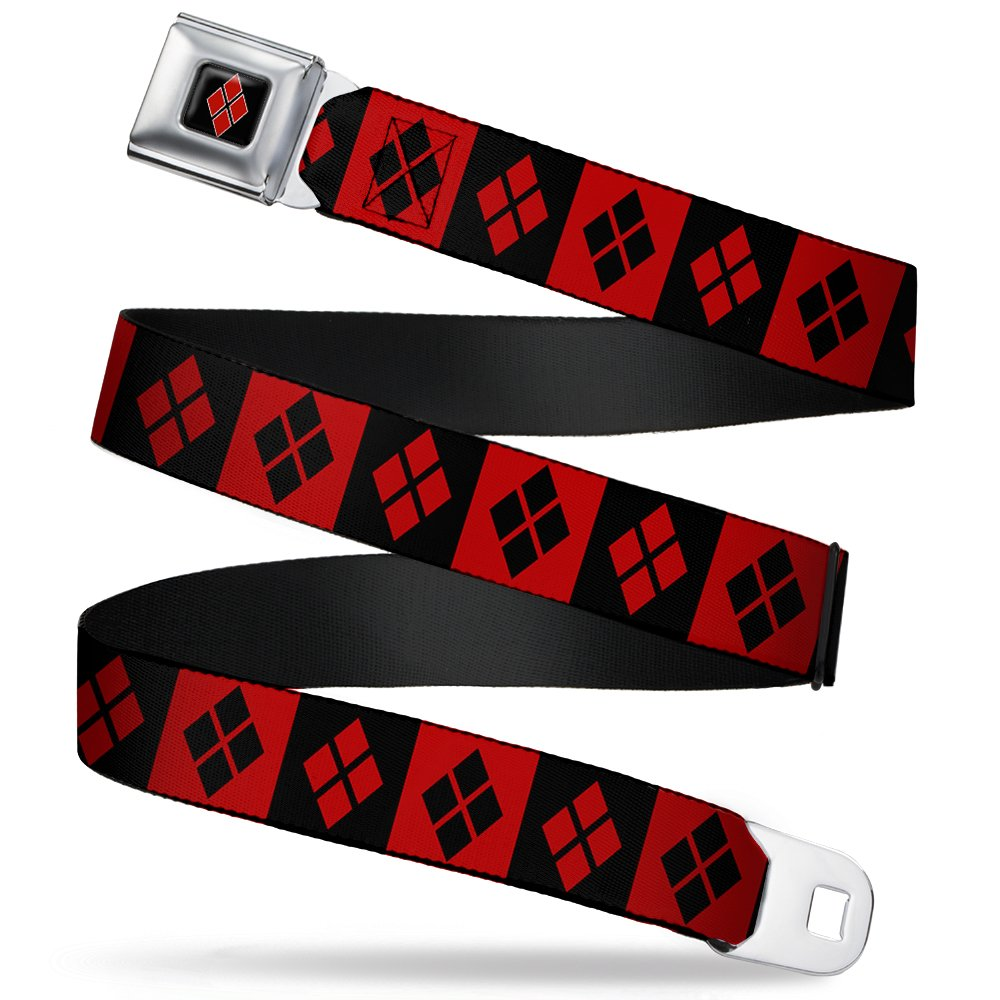 Harley Quinn Diamonds Black/Red Stripes Seatbelt Belt-Holds Pants Up JKG-WJK024-XL