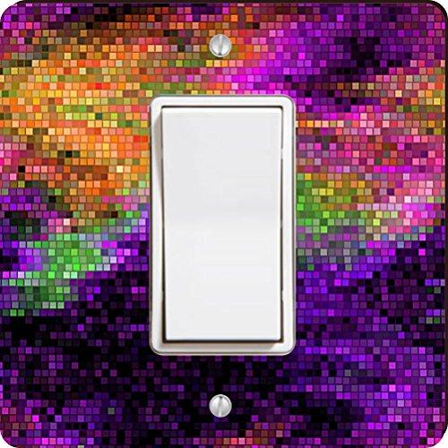 Rikki Knight Grunge Rainbow Mosaic Single Rocker Light Switch Plate, Purple - Mosaic Single