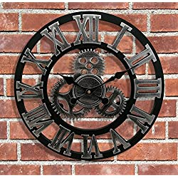 HQF Large Shabby Chic Wall Clock, Eruner 18-Inch European Village Industrial Vintage Style Decorative Handmade Mechanism Non-Ticking Clocks with Roman Numerals Silver