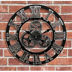 Large Shabby Chic Wall Clock, Eruner 18-Inch European Village Industrial Vintage Style Decorative Handmade Mechanism Non-Ticking Clocks with Roman Numerals Silver