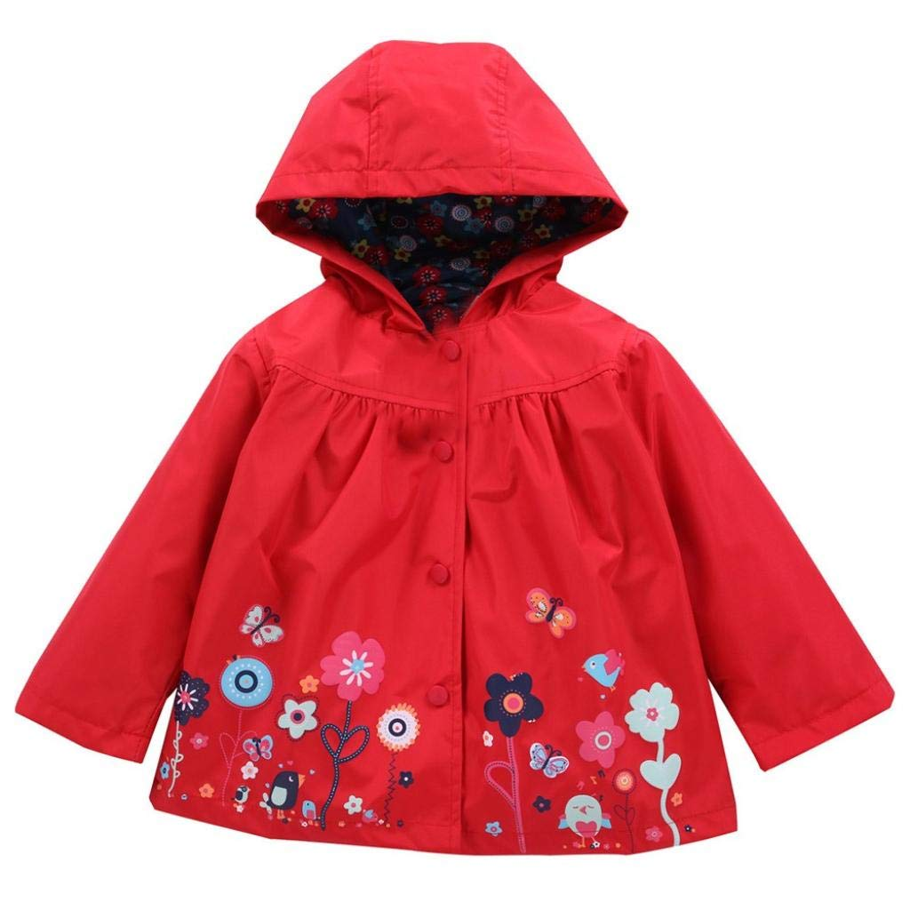 Little Girl Hooded Coat,Jchen(TM) Infant Toddler Baby Kid Girl Waterproof Hooded Coat Jacket Outwear Raincoat for 1-5 Y (Age: 3-4 Years Odl, Red)