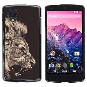 rígido protector delgado Shell Prima Delgada Casa Carcasa Funda Case Bandera Cover Armor para LG Google Nexus 5 D820 D821 /Black White Roar King Fur/ STRONG