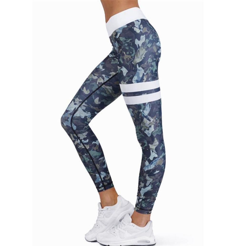 Kingfansion Women High Waist Yoga Pants Gym Stretchy Sport Leggings