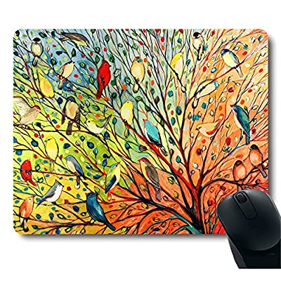 Gorgeous Illustration Painting 16 Birds Stand on The Tree Mouse Pad by MOUSDD