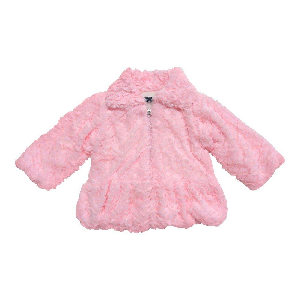 Little Girls Pink Zipper Enclosure Soft Faux Fur Long Sleeved Jacket 2-4T